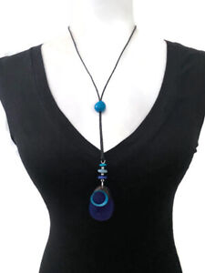 Blue Tagua Necklace,  Organic Handmade Long Y Necklace TAG519, Tagua Jewelry