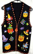 Halloween Ugly Sweater Vest Appliqued Beaded Pumpkin Spider Cat Witch Hat W XL