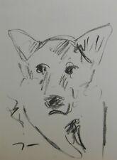 JOSE TRUJILLO Original Charcoal - Paper Sketch Drawing 9X12 Wolf Dog New Art