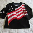 Nordstrom Patriotic Pullover Sweater M Navy Blue Red White Stars Flag 3/4