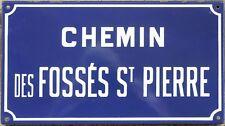 French enamel street sign plaque road name Fosses St Pierre Peter Etampes 1970s