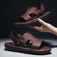 Men's Summer Leahter Sandals Flip Flops Outdoor Oxfords Slide Casual Beach Shoes
