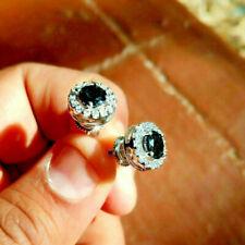 2.50Ct Round Cut Black Diamond Screw Back Halo Stud Earrings 14k White Gold Fin