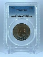 PR66 1962 PCGS GRADED FRANKLIN 90% SILVER HALF DOLLAR PROOF COIN MONSTER TONED