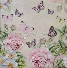 4 Papers Napkin Decoupage Serviette Cocktail Tissue Butterfly Botanical Flowers