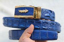 Unjointed - Bright Blue Real Crocodile Belt SKIN Leather Men's - W 1.5 inch