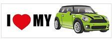 Mini Car New Collectible Sticker - I Love My Mini - Lime