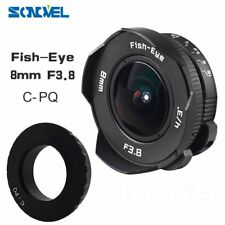 8mm F3.8 CCTV Wide Angle Fisheye Lens+C Mount Adapter For Pentax PentaxQ Q10 QS1