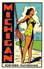 Pin-Up Michigan   Vintage 1950's Style  Travel Decal Sticker great lakes MI