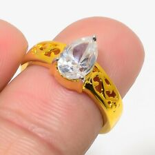 Gold Tone Engagement Jewelry Gift Aaa Natural Russian White Topaz Ring Solitaire