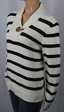 Ralph Lauren Cream Black Striped Leather Latch Sweater NWT