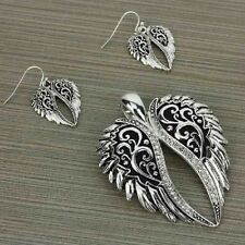 ANGEL WINGS RHINESTONE WESTERN JEWELRY MAGNETIC PENDANT EARRINGS SET 1