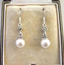 Deco Design Cream Faux Pearl, Marcasite Silver Drop Earrings