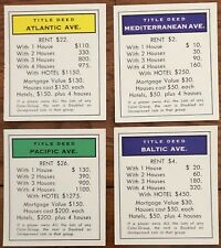 Monopoly Deed Cards Baltic Pacific Ave. 1935, 1946, 1961