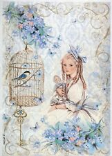 Carta di riso per Decoupage Scrapbook Craft sheet Ragazza con Bambola e Bird