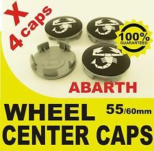 tapas llantas  ruedas de tu coche wheel center caps ABARTH NEGRO 55mm 60mm 4x