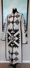 Custom Made Pendleton Black & White Native Reversible Long Coat Sz M/L