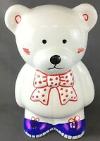 "Gift Mark Giftware International Red/White/Blue Teddy Bear Bank 6 1/2"" Tall"
