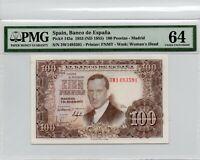1953 Spain Banco de Espana 100 Pesetas Madrid Pick#145a PMG 64 Choice UNC