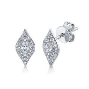14K White Gold Marquise Diamond Stud Earrings Kite Shape Natural 0.38CT Pushback