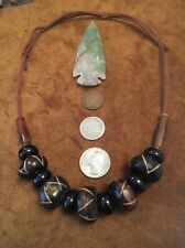 Necklace Tribal Reenactment Pow Wow Boho African Trade Bead glass Bone Hairpipe