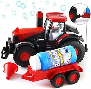 Kids Bubble Blowing Farm Tractor with Lights and Sound Battery-Operated Toy 3+
