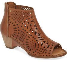 NIB PIKOLINOS Romana Open Toe Laser-Cut Brandy Leather Bootie w/Zip 40/US 9.5-10