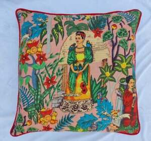 Indian Frida Khalo Red Piping Cushion Cover All Size Sofa Decorate Cushion Cover