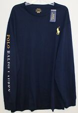 Polo Ralph Lauren Big Tall Mens Navy Blue L/S Big Pony Crewneck T-Shirt NWT 2XLT