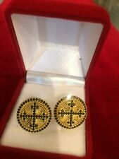 Christian Clergy Handmade 925 Sterling Silver Cufflinks with Granada Stones
