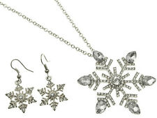 """2.25"""" Silver Plt Clear Marquise Rhinestone Crystal Snowflake Necklace Set"""