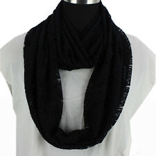 Fashion Women Paisley Floral Pattern Lace Solid Lady Infinity Scarf Snood Shawl