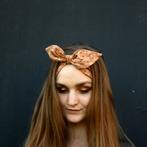 Authentic Vintage fabric Top knot womens headband hand made