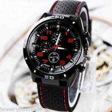 FL:Herren Armbanduhr Quartz Analog Sportuhr Silikonband Geschenk Schwarz M7476