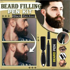 Men Beard Filling Pen Pencil Hair Grower Filler Moustache Eyebrow Brush Tool Kit