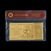 WR Zimbabwe 100 Trillion Dollars 2008 Bank Notes 24K GOLD Foil Gifts /w COA PACK