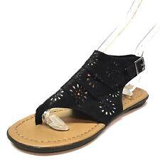 New Mia Safi Girls Black Slingback Ankle Strap Thong Sandals Size 11 M *