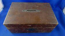 ancienne boite bois tirelire ou caisse en pin coffret