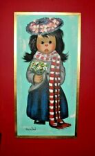 VINTAGE BOLLINI GIRL w/BOUQUET FLOWERS 1960's OIL PAINTING BIG EYES CUTE!!