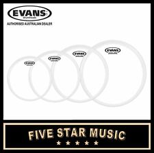 "EVANS G1 CLEAR 4 PCE DRUM SKIN TOM & SNARE PACK SET 10"" 12"" 14"" SNARE 16"" HEADS"