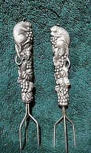 Pair Pewter Mouse & Grapes Appetizer Cocktail Cheese Forks