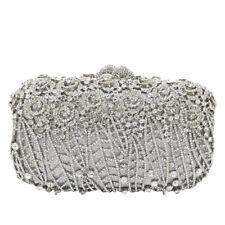 Women Flower Evening Bags Crystal Clutch Minaudiere Wedding Handbags Party Purse