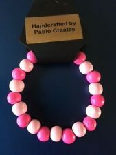 Beads, Bright Colours, Adult size Pink Wood Bead Bracelet, Wood