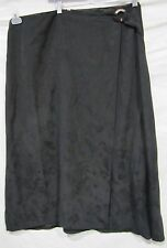 TOMMY BAHAMA SKIRT SILK BLACK FAUX WRAP COCONUT SHELL FLORAL PRINT SZ 16