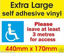 Disabled access Mobility Blue Badge Extra Large sticker decal please leave space