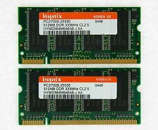 1GB (2x512MB) DDR-333 PC2700 Laptop (SODIMM) Memory RAM KIT 200-pin ***Tested***