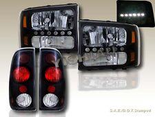 1999-2004 FORD F250 / F350 SUPER DUTY LED BLK HEADLIGHTS + BLACK JDM TAIL LIGHTS