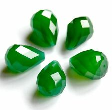 Green Agate Beads, faceted, Teardrop, 20x14mm, AAA Grade - pack of 4