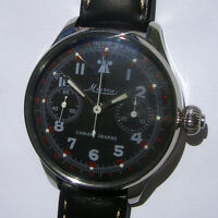 Rare Big Military Chronograph MINERVA Swiss Wristwatch Steel Case Aviator Pilots