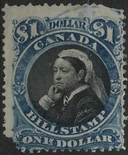 "Canada VanDam # FB52 - $1.00 blue & black bill stamp of 1868 - funny ""N"""